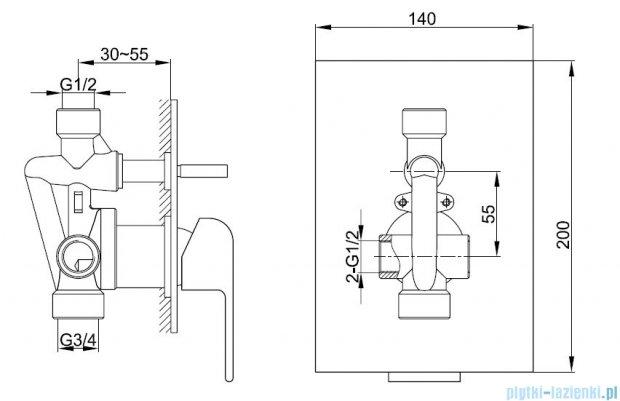 Kohlman Saxo podtynkowa bateria wannowo-prysznicowa QW210S