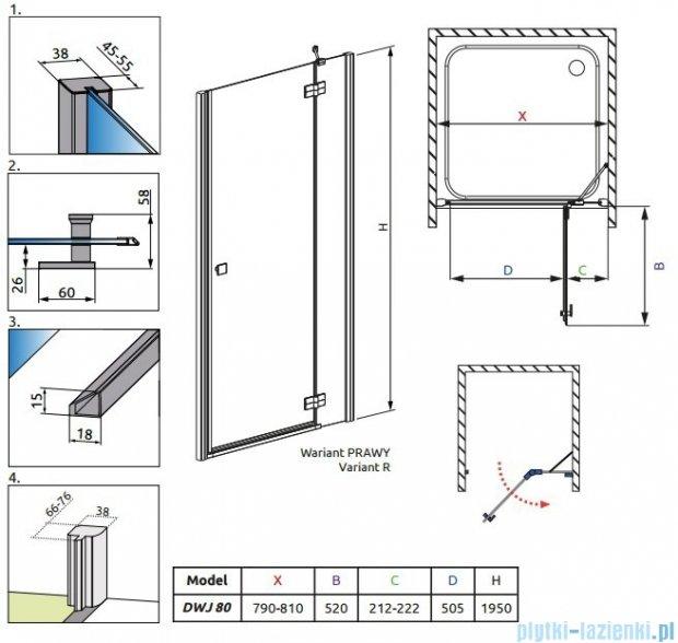 Radaway Almatea DWJ Drzwi wnękowe 80 Prawe szkło grafitowe 30902-01-05N