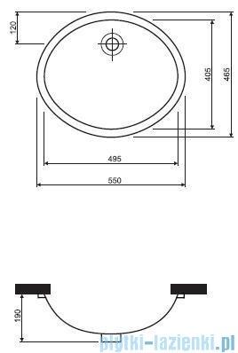 Koło Nova Top Umywalka podblatowa 55cm bez otworu 61856000