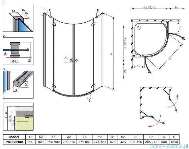 Radaway Torrenta PDD E Kabina prysznicowa 90x80 szkło przejrzyste 31630-01-01N