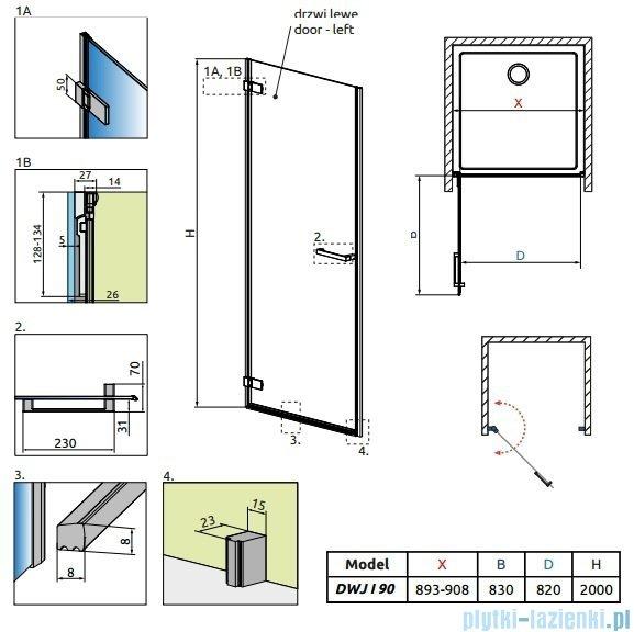Radaway Arta Dwj I drzwi wnękowe 90cm lewe szkło przejrzyste 386072-03-01L