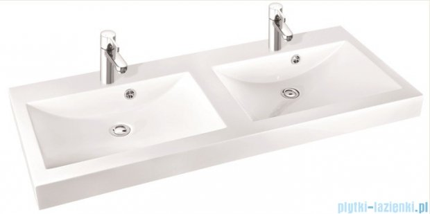 Marmorin Moira Bis 120D umywalka nablatowa 120 cm bez otworów biała 280120220210