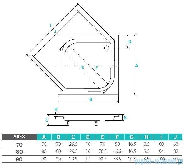 Piramida Ares Brodzik 80x80x15/25 kwadratowy głęboki #BAA-80-KW
