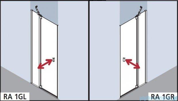 Kermi Raya Drzwi wahadłowe, 1-skrzydłowe, z polem stałym, lewe/przezroczyste KermiClean, profile srebrne 90x200 RA1GL09020VPK