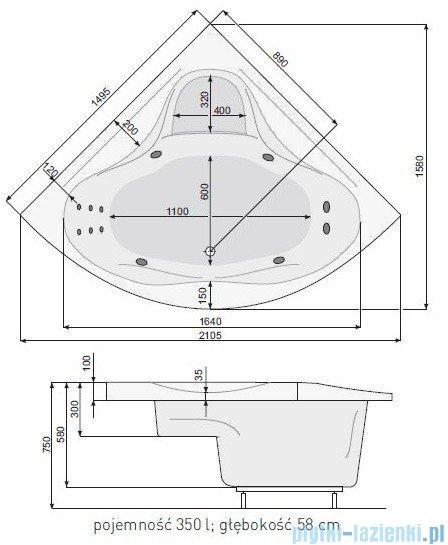 Poolspa Wanna symetryczna FRANCJA XL 150x150 + stelaż PWSH710ZS000000