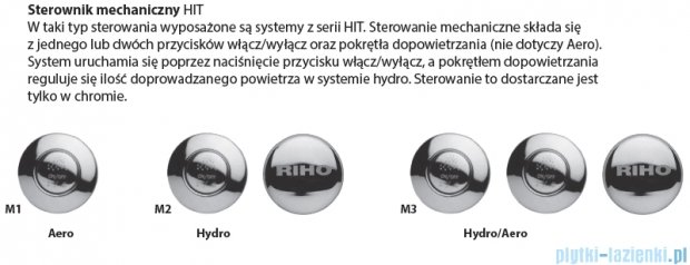 Riho Carolina wanna prostokątna 190x80 z hydromasażem Hit Hydro 6+4+2 BB55H2