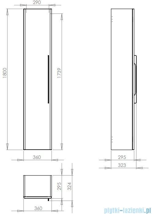 Koło Traffic szafka boczna 36x180x29,5cm wisząca biały połysk 88419