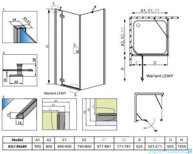 Radaway Almatea Kdj Gold kabina prysznicowa 90x80 lewa szkło grafitowe 32148-09-05NL