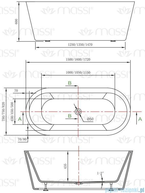 Massi Thermo 150 wanna wolnostojąca 150x75 cm biała/czarno MSWA812150B
