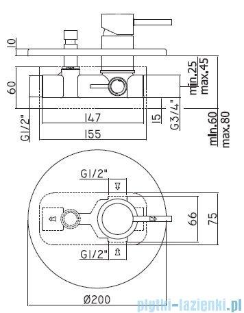 Paffoni  Light bateria podtynkowa natryskowa z przełącznikiem chrom LIG015