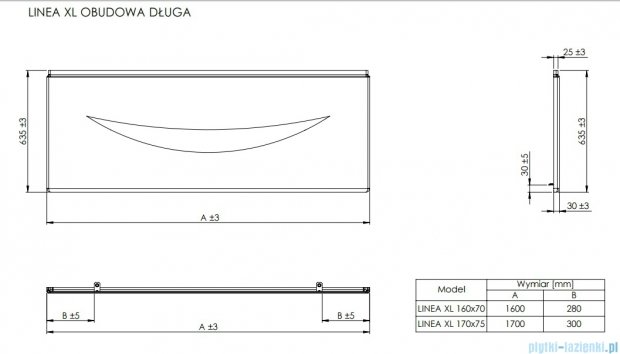 Roca Linea XL obudowa czołowa do wanny 160cm A25T012000
