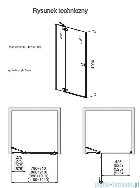 Aquaform Verra Line drzwi uchylne do wnęki prawe 100cm przejrzyste 103-09406