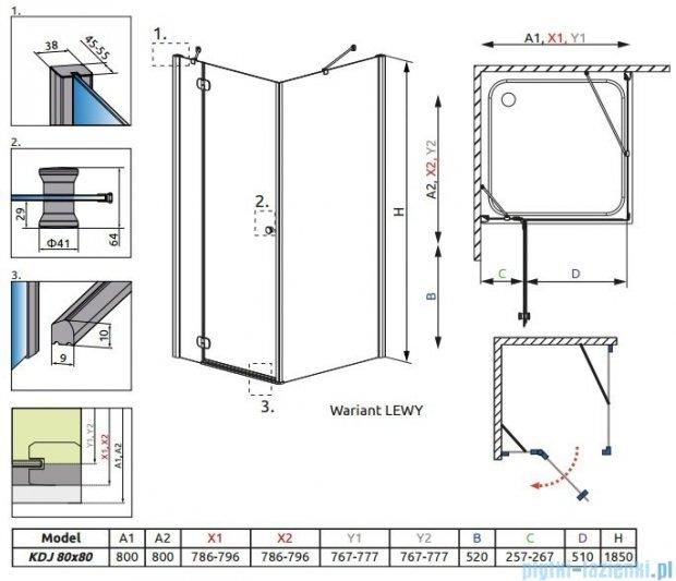 Radaway Torrenta Kdj kabina kwadratowa 80x80 lewa szkło grafitowe + Brodzik Delos C + syfon 32212-01-05NL