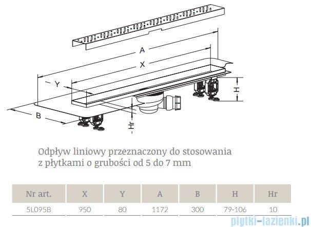Radaway Steel Odpływ liniowy 95x8cm 5L095B,5R095S