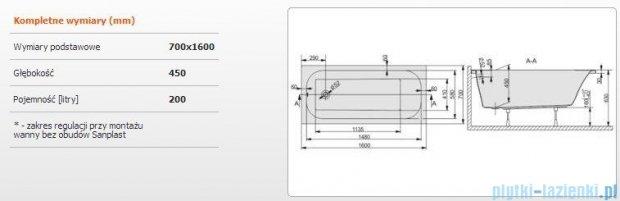 Sanplast Free Line Wanna prostokątna+stelaż WP/FREE 160x70+ST25, 610-040-0050-01-000