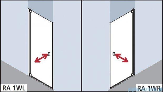 Kermi Raya Drzwi wahadłowe, 1-skrzydłowe, lewe, szkło przezroczyste z KermiClean, profile srebrne 100x200 RA1WL10020VPK