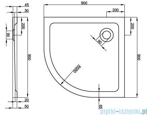 Atrium Platani brodzik półokrągły 80x80x5 cm QA1S-80