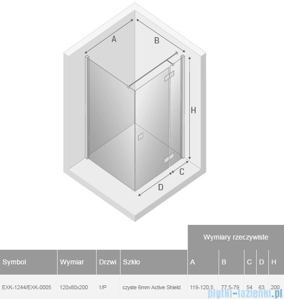 New Trendy Reflexa 120x80x200 cm kabina prostokątna prawa przejrzyste EXK-1244/EXK-0005