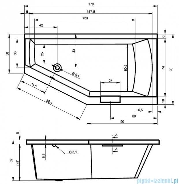 Riho Geta Wanna asymetryczna 170x90 lewa z hydromasażem PRO Hydro 6+4+2/Aero11 BA89P7