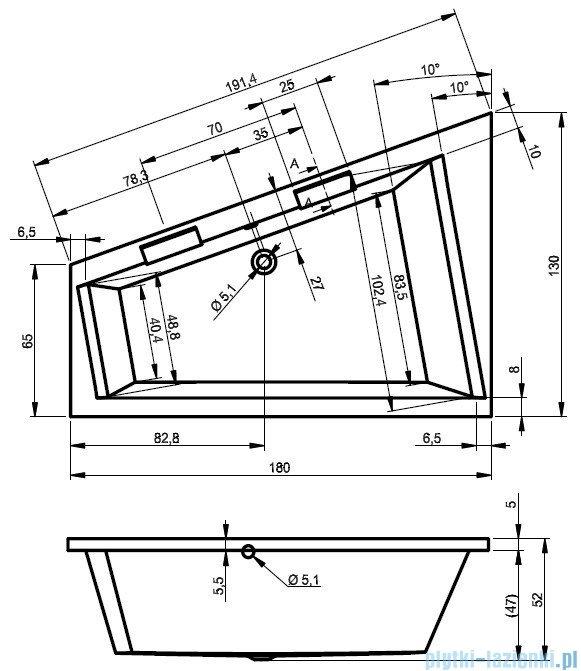 Riho Doppio wanna asymetryczna 180x130 prawa z hydromasażem TOP Aero12 BA90T1
