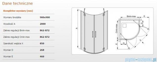 Sanplast kabina narożna półokrągłe KP4/AVIV-90 szkło przezroczyste 600-084-0550-42-401