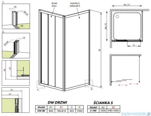 Radaway Treviso DW+S kabina 80x100 szkło przejrzyste 32313-01-01N/32423-01-01N