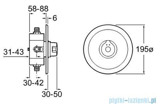 Roca Sprint Bateria natryskowa podtynkowa czasowa z regulacją temperatury (z rozetą) A5A2217C00