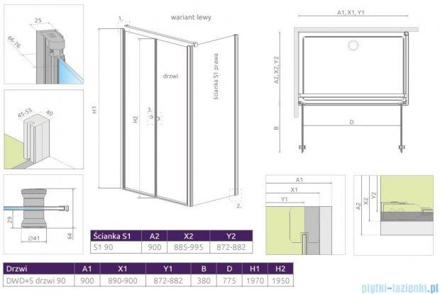 Radaway Eos II DWD+S Kabina 90x90 lewa szkło przejrzyste + brodzik Delos C + syfon 3799491-01/3799411-01R/SDC0909-01