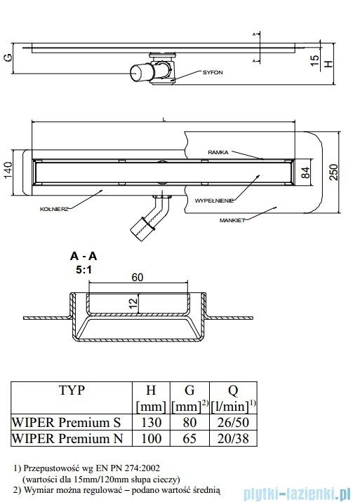 Wiper Odpływ liniowy Premium Ponente 80cm z kołnierzem poler P800PPS100