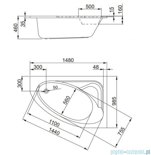 Aquaform Helos Comfort wanna asymetryczna 148x98,5cm prawa 05080