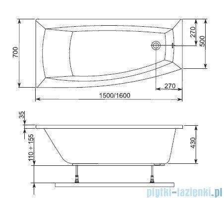 Aquaform Arcline wanna asymetryczna 150x70cm lewa 241-05315P