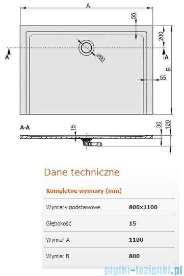 Sanplast Brodzik prostokątny Space Mineral 110x80x1,5cm + syfon 645-290-0340-01-000