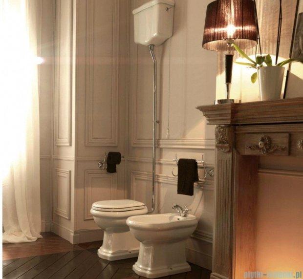 Kerasan Retro Zestaw WC kompakt wysoki górnopłuk, odpływ pionowy, chrom (1010,1080,7546,7547,109001)