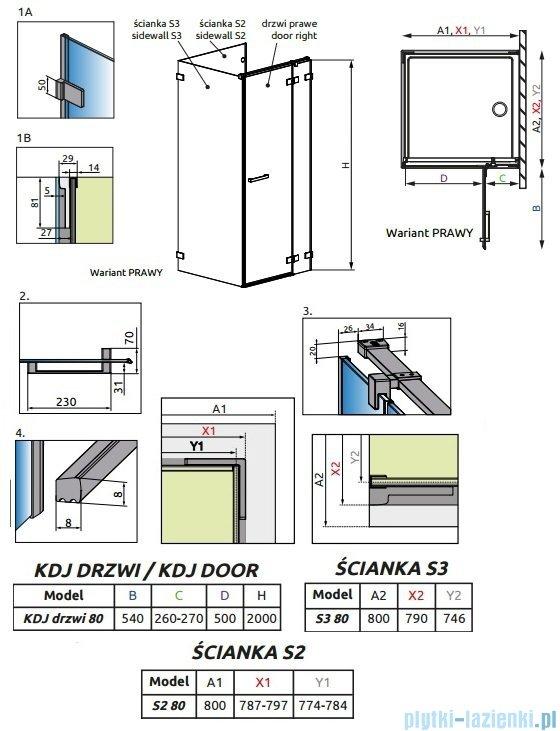 Radaway Euphoria KDJ P Kabina przyścienna 80x80x80 prawa szkło przejrzyste 383043-01R/383031-01/383038-01