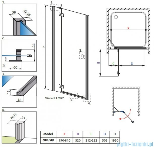 Radaway Almatea DWJ Drzwi wnękowe 80 Lewe szkło przejrzyste 30802-01-01N