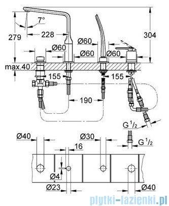 Grohe Veris 4-otworowa bateria wannowa chrom 19373000