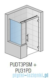 SanSwiss Pur PUDT3P Ścianka boczna wymiary specjalne 100-160/do 200cm krople PUDT3PSM41044