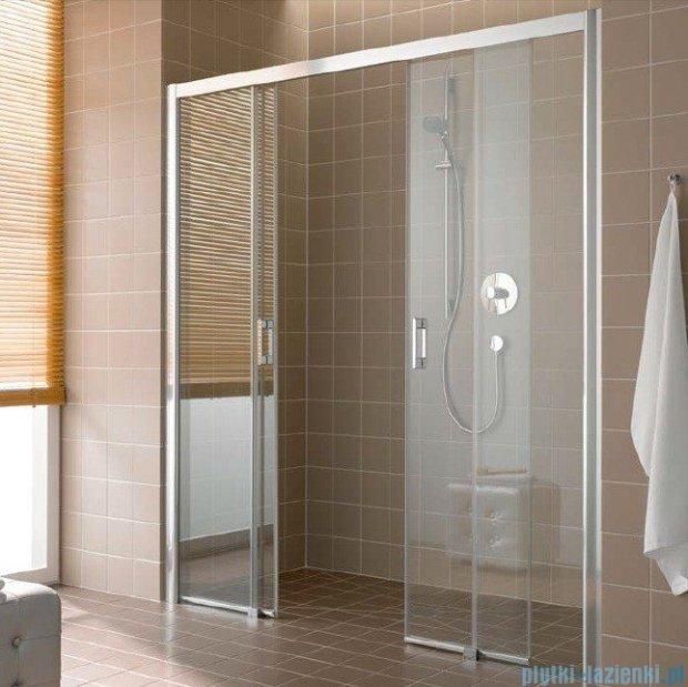 Kermi Atea Drzwi przesuwne bez progu, 4-częściowe, szkło przezroczyste z KermiClean, profile białe 150x185 ATD4B150182PK