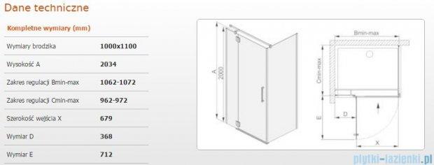 Sanplast kabina narożna prostokątna lewa przejrzysta KNDJ2L/AVIV-100x110 100x110x203 cm 600-084-0310-42-401