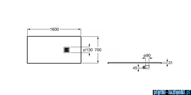 Roca Terran 160x70cm brodzik prostokątny konglomeratowy off white AP016402BC01090