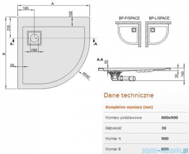 Sanplast Brodzik półokrągły Space Line 90x80x3cm Prawy+ syfon 615-110-0430-01-000