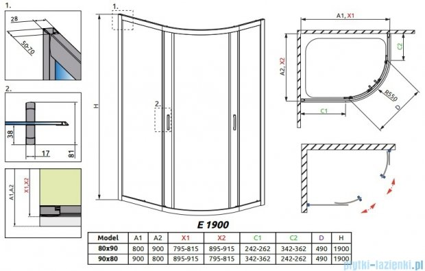 Radaway Premium Plus E Kabina prysznicowa 90x80 szkło satinato 30492-01-02N