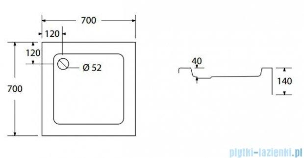 Sea Horse Sigma zestaw kabina natryskowa kwadratowa 70x70 chinchilla + brodzik + syfon BKZ0/3/Q