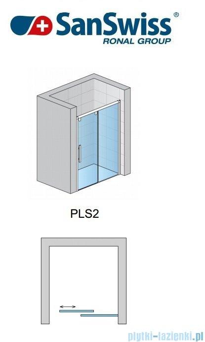 SanSwiss Pur Light S PLS2 Drzwi rozsuwane 140cm profil połysk szkło przejrzyste Prawe PLS2D1405007