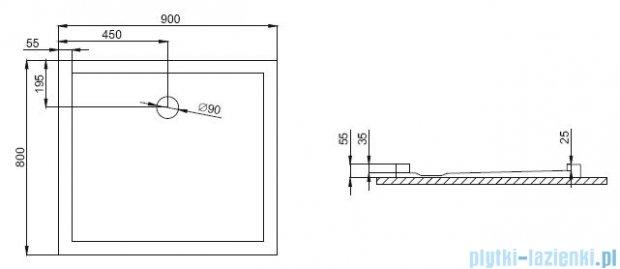 Polimat Goliat 2 brodzik prostokątny posadzkowy 90x80cm 00598