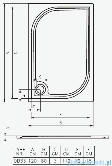 Riho Brodzik prostokątny Kolping 120x80x3 DB33