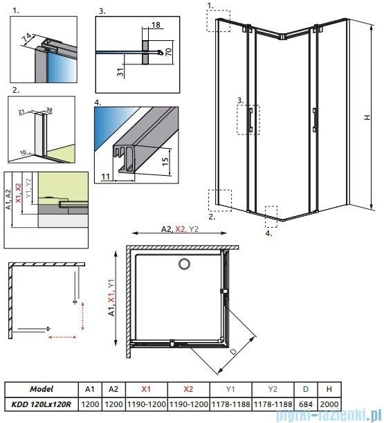 Radaway Espera KDD Kabina prysznicowa 120x120 szkło przejrzyste 380153-01L/380153-01R