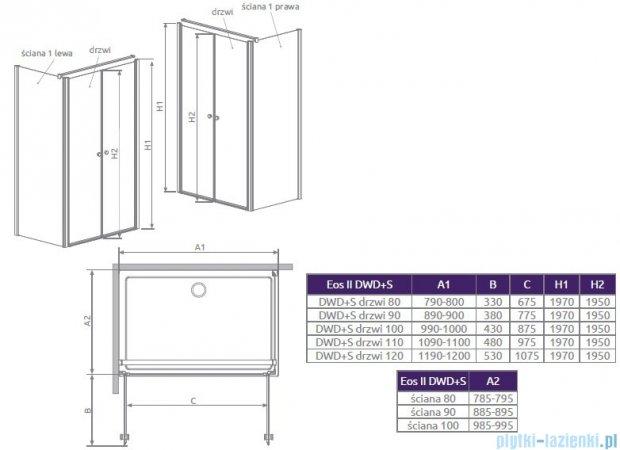 Radaway Eos II S1 Ścianka boczna 80x197 lewa szkło przejrzyste 3799410-01L