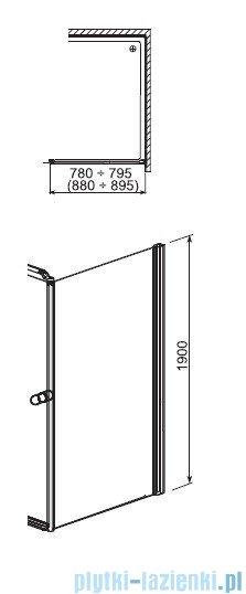 Aquaform Sol ścianka prysznicowa De Luxe 80cm szkło przejrzyste 06058