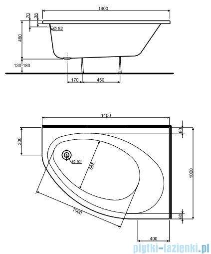Koło Elipso Wanna asymetryczna 140x100cm Prawa XWA0640